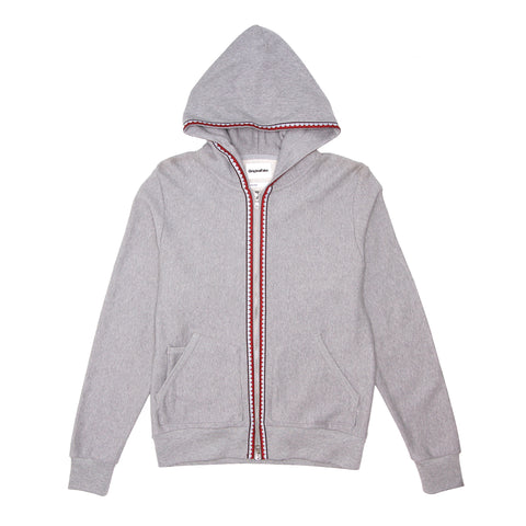 TEETH TAPE ZIP HOODIE - GREY