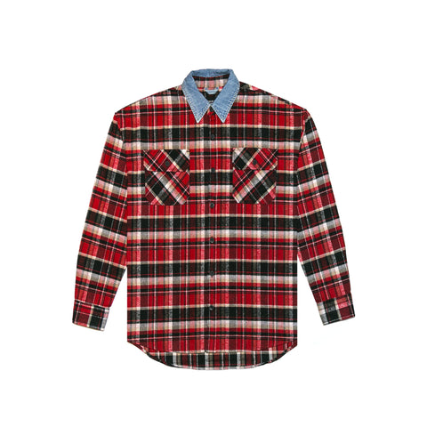 5TH COLLECTION DENIM COLLAR FLANNEL - RED