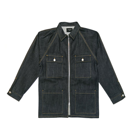 5TH COLLECTION RAW SELVEDGE DENIM LONG JACKET - INDIGO