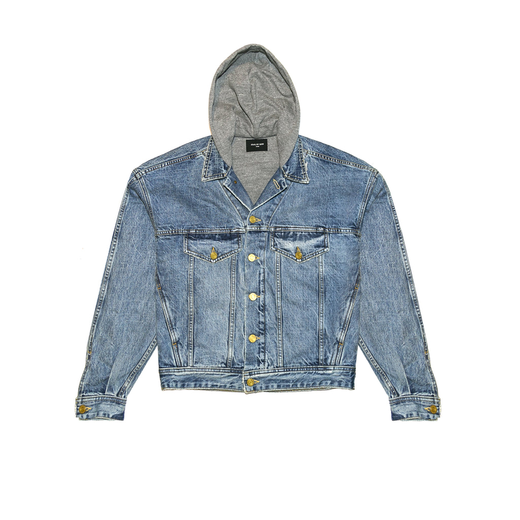 5TH COLLECTION SELVEDGE DENIM TERRY HOODED TRUCKER JACKET - VINTAGE INDIGO