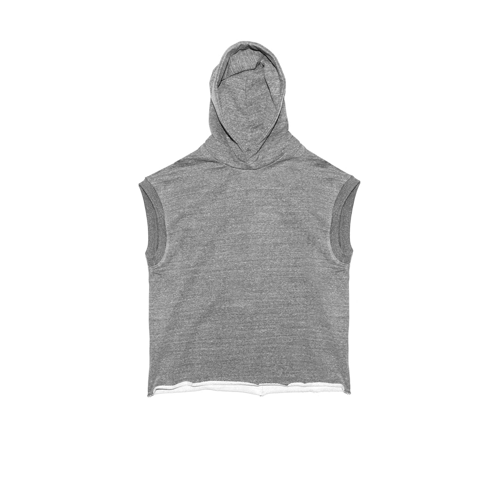 5TH COLLECTION HEAVY TERRY MUSCLE HOODIE - HEATHER GREY