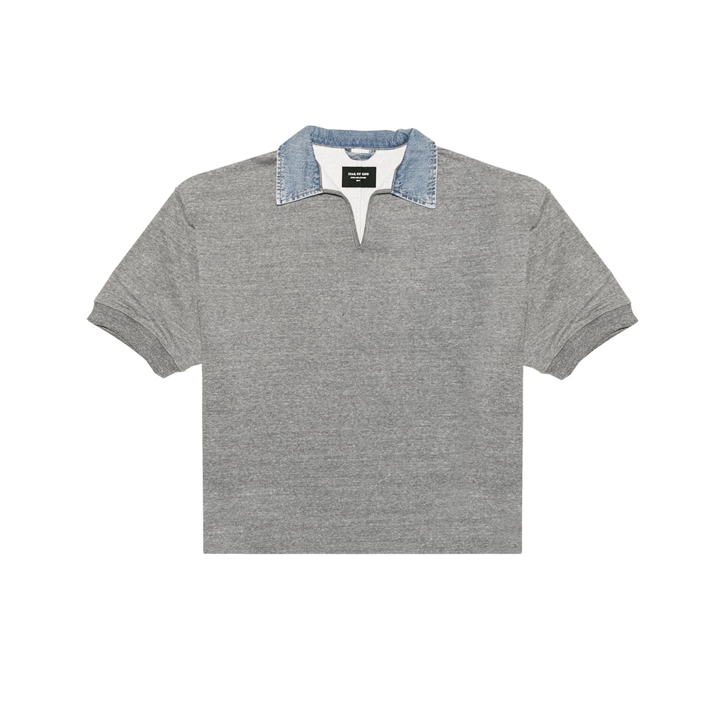 5TH COLLECTION HEAVY TERRY V-NECK POLO - HEATHER GREY