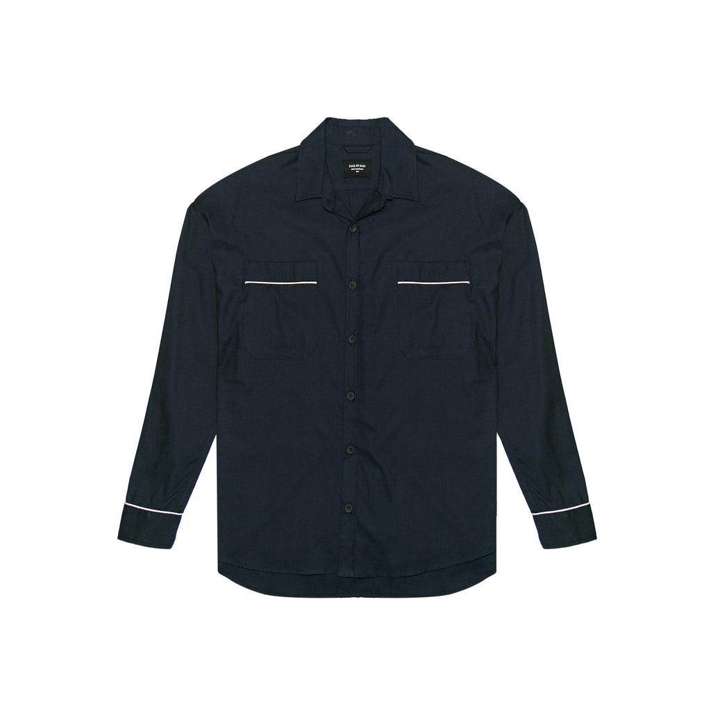 5TH COLLECTION PIPED OVERSIZED SHIRT - NAVY