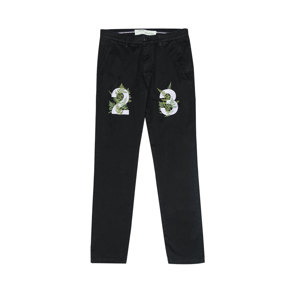 DIAGONAL FERNS CHINO PANTS - BLACK