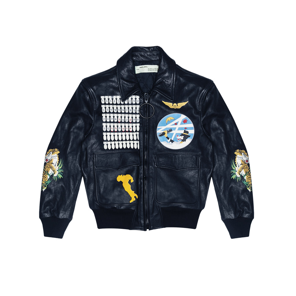 LEATHER BOMBER AVIATOR - NAVY