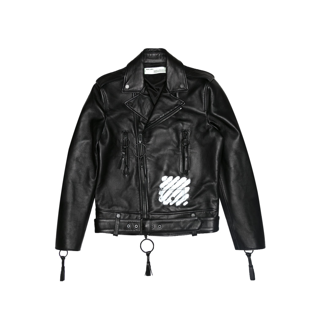 DIAGONAL CARRYOVER BIKER JACKET - BLACK