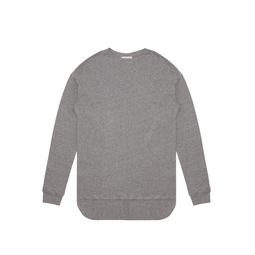 LONG SLEEVE CREWNECK TEE - HEATHER GREY