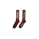 OFF-WHITE DIAG MID LENGHT SOCK - BORDEAUX/ YELLOW
