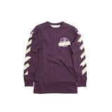 OFF-WHITE TAPE ARROWS L/S TEE - PURPLE/BEIGE
