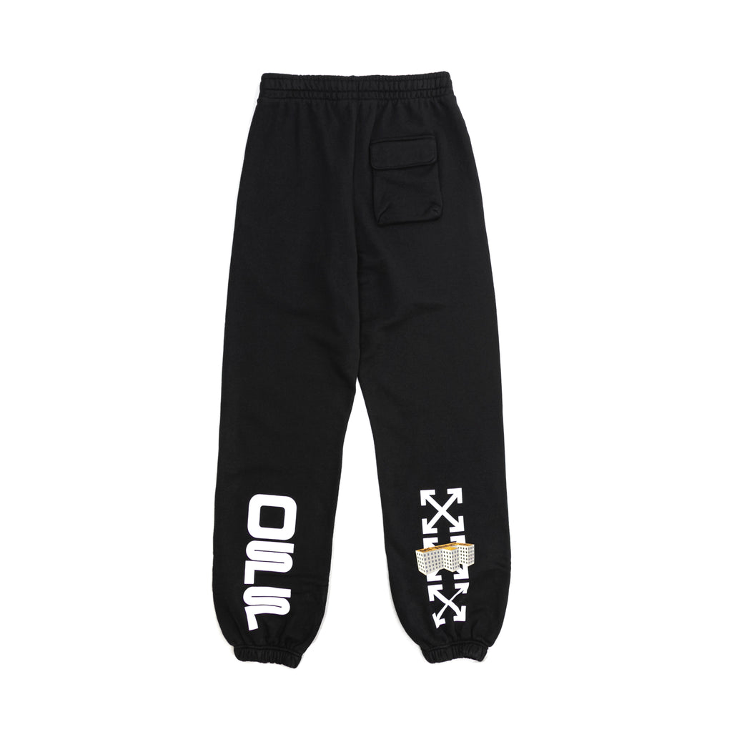 OFF-WHITE WAVY LINE LOGO SLIM SWEATPANT - BLACK/ WHITE