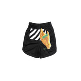 OFF-WHITE HAND LOGO MESH SHORTS - BLACK