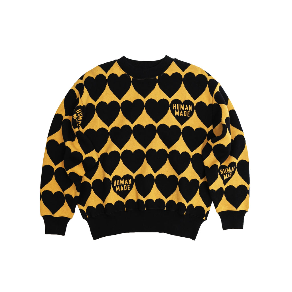 HUMAN MADE HEART CHECK KNIT - ORANGE