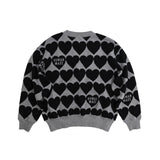 HUMAN MADE HEART CHECK KNIT - GREY