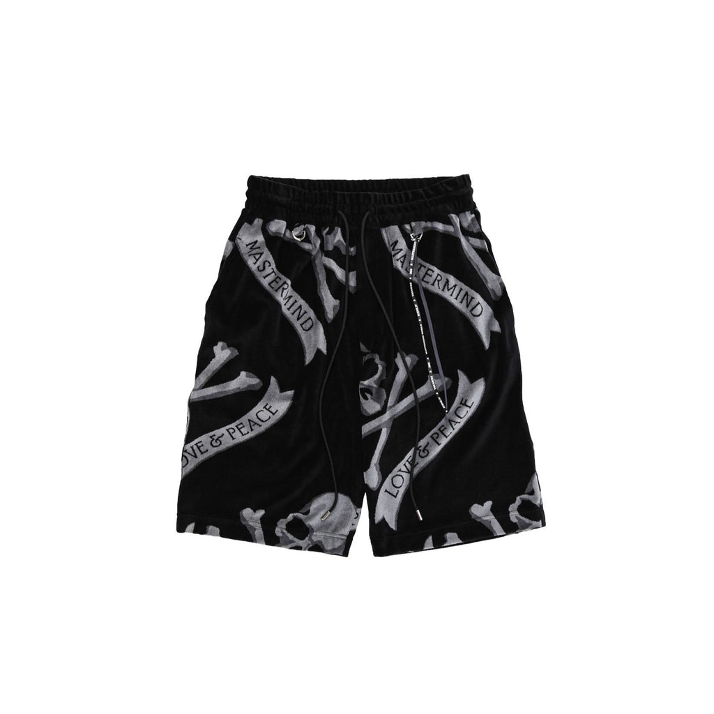 MASTERMIND TROPICAL SKULL SHORTS - BLACK