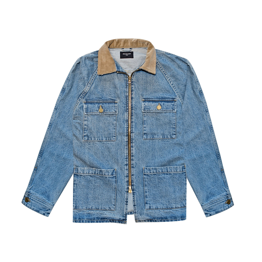SELVEDGE DENIM LONG TRUCKER JACKET - VINTAGE INDIGO