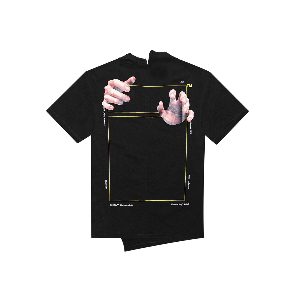 SQUARE HANDS SPLICED SHORT SLEEVE TEE - BLACK