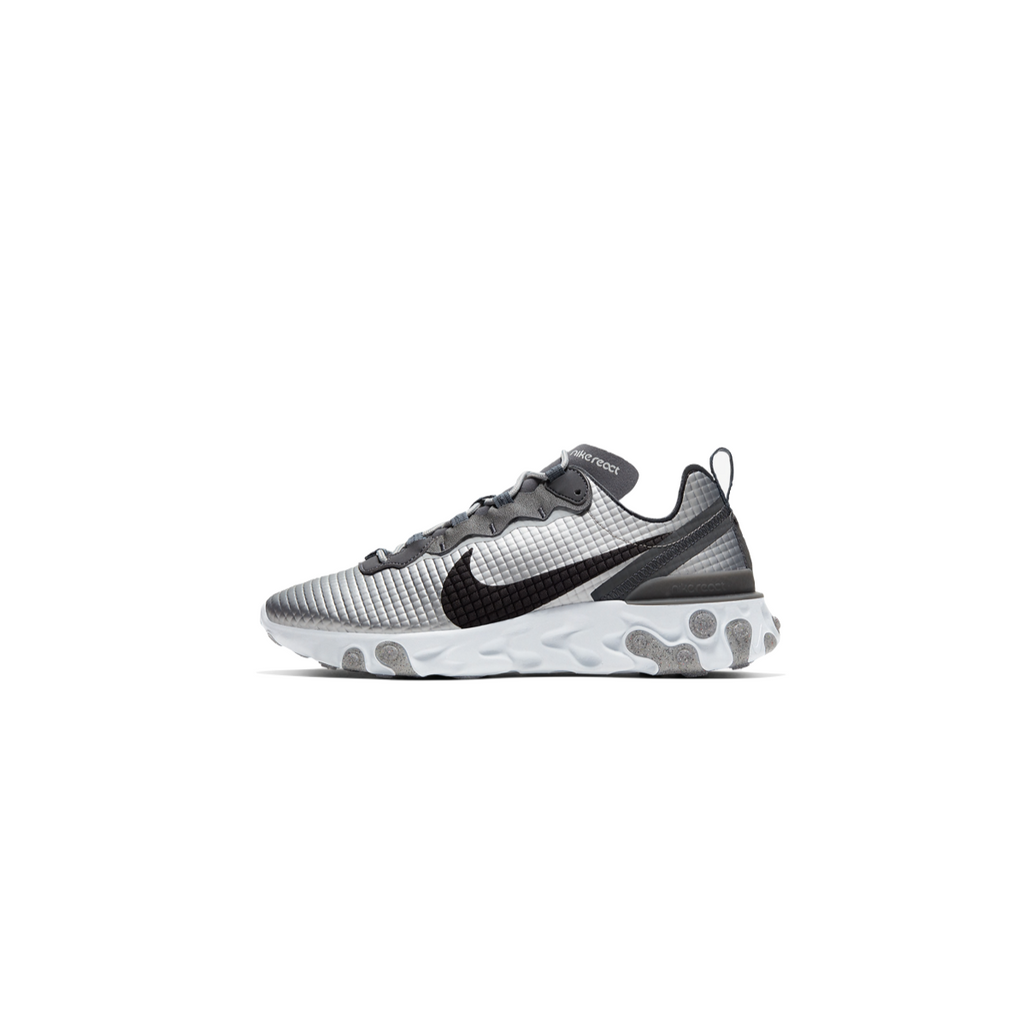 NIKE REACT ELEMENT 55 QUILTED GRID - SILVER/ BLACK