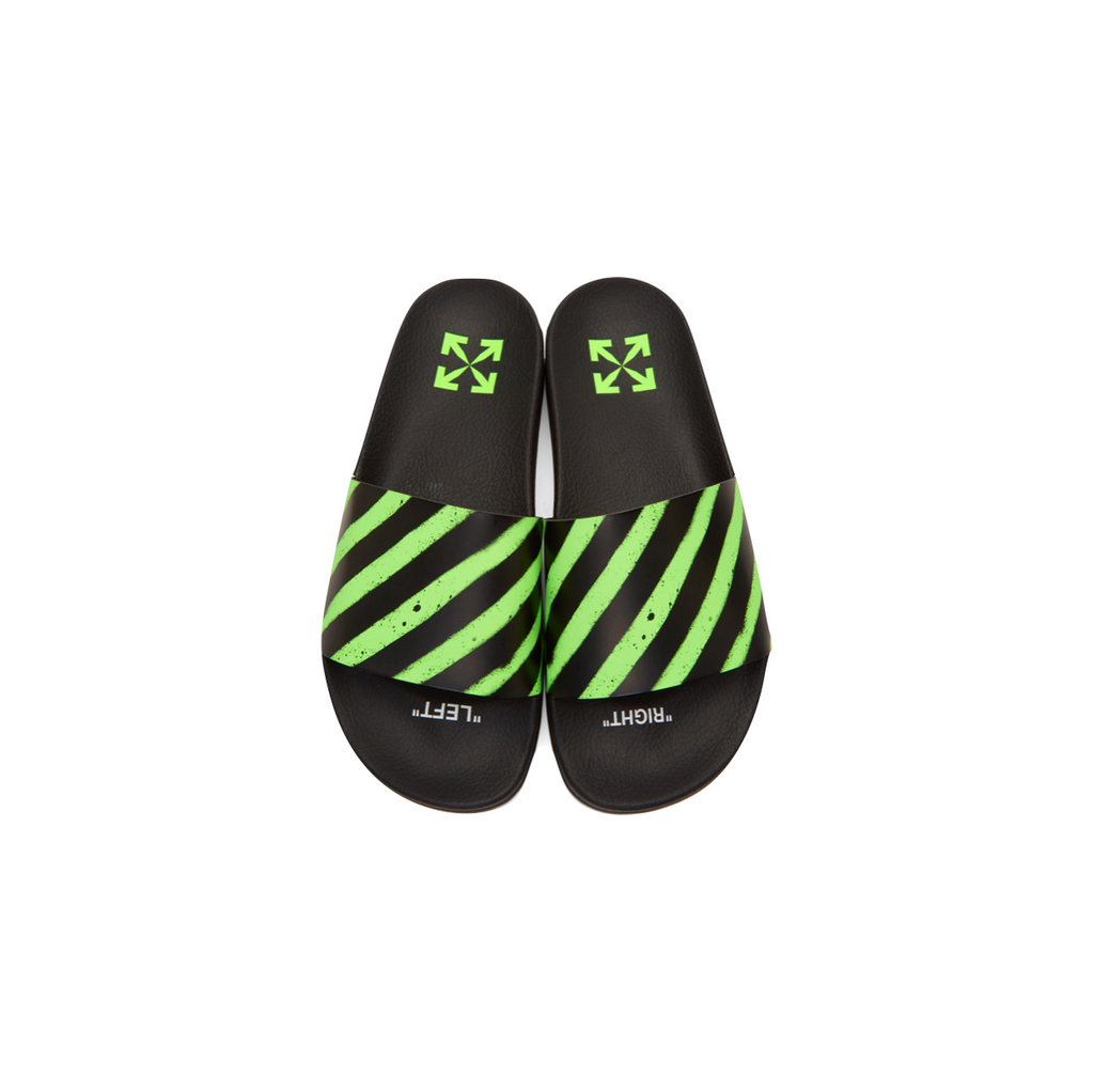 OFF-WHITE SPRAY STRIPES SLIDER - BLACK / GREEN
