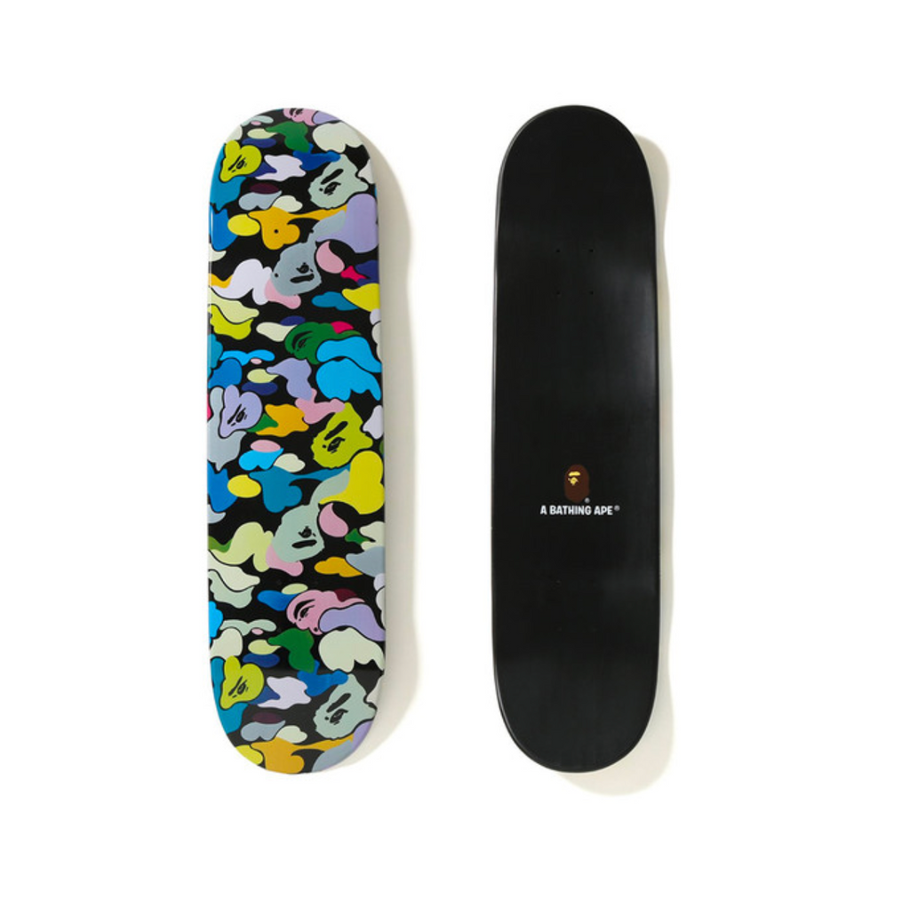 BAPE MULTI CAMO SKATEBOARD DECK -  BLACK