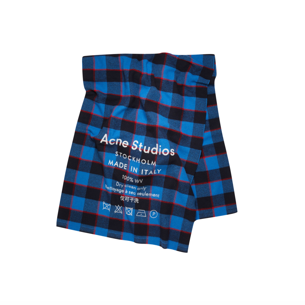 ACNE STUDIOS CASSIAR CHECK SCARF -  NAVY/RED