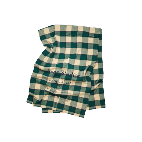 ACNE STUDIOS CASSIAR CHECK SCARF -  FOREST GREEN/OATMEAL