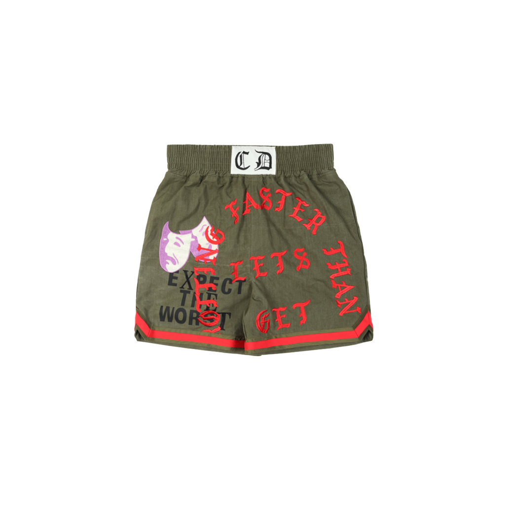 READYMADE EMBROIDERED BOXING SHORTS - GREEN