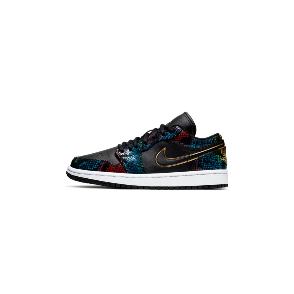 WOMEN'S AIR JORDAN 1 LOW - BLACK/ METALLIC GOLD/ MULTI