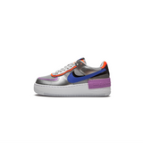 NIKE WOMEN'S AIR FORCE 1 SHADOW - METALLIC SILVER/ RACER BLUE