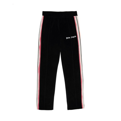 PALM ANGELS TIE DYE TAPE CHENILLE TRACK PANTS - BLACK/ MULTI