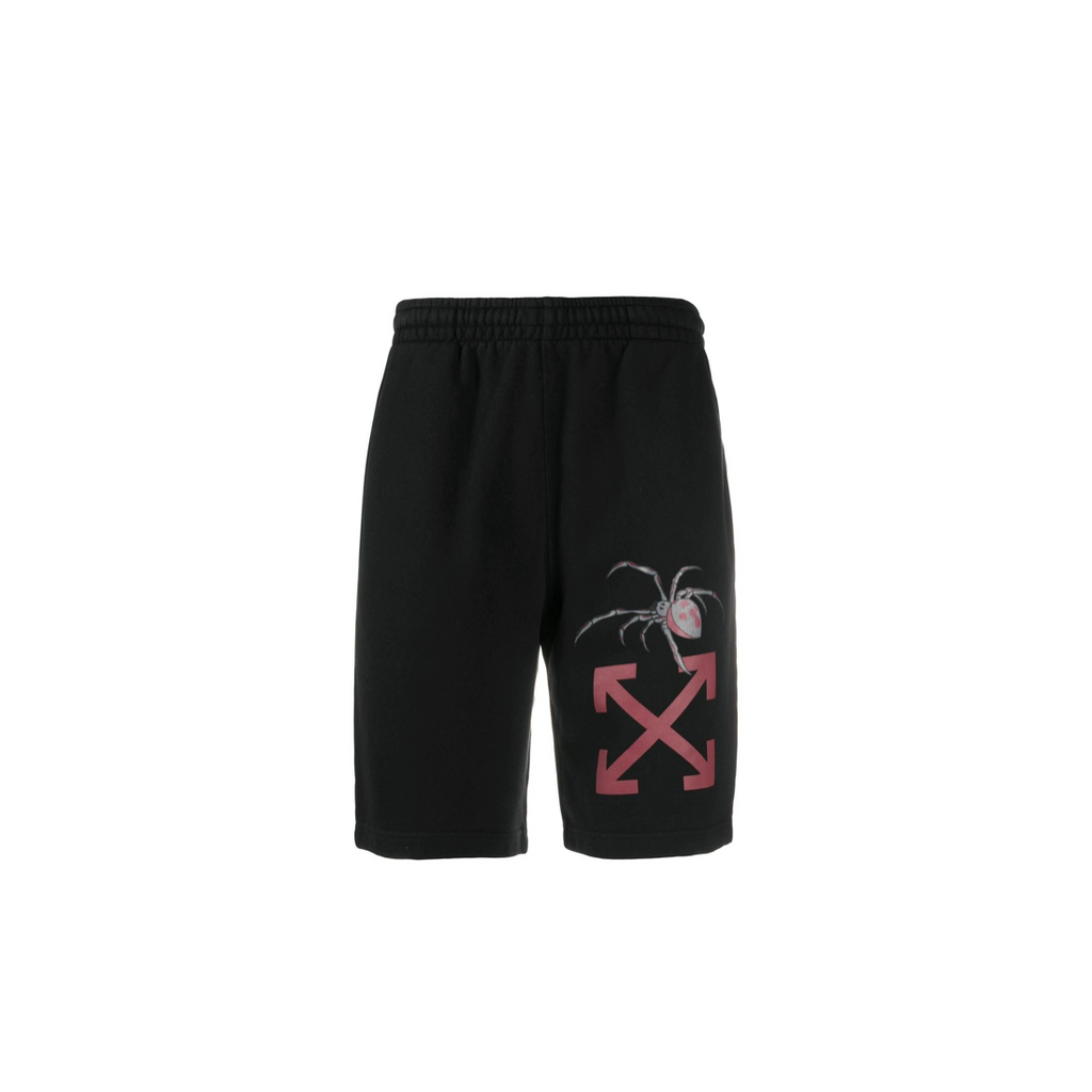 OFF-WHITE ARACHNO ARROW SWEATSHORTS - BLACK/ BORDEAUX