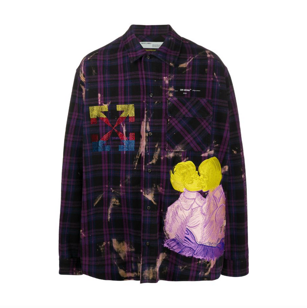 OFF-WHITE EV FLANNEL CHECK SHIRT - VIOLET/ MULTI