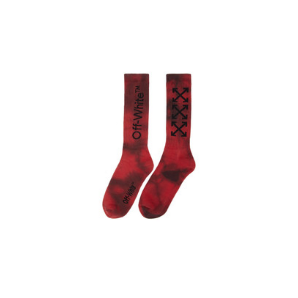 OFF-WHITE  TYE DYE ARROW MID LENGHT SOCK - BLACK/ RED
