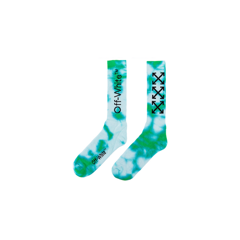OFF-WHITE  TYE DYE ARROW MID LENGHT SOCK - LIGHT GREEN/ BLACK