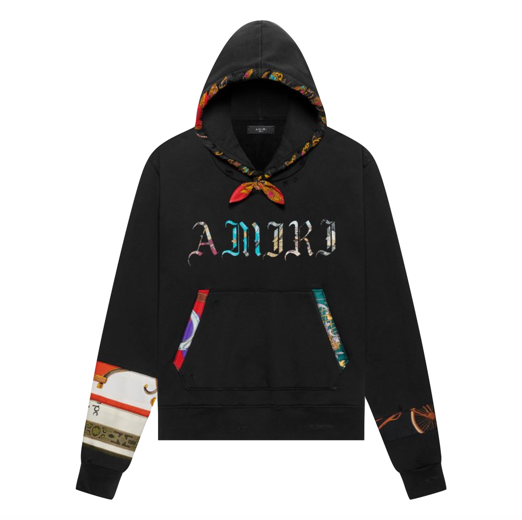 AMIRI PATCH SCARF OLDE ENGLISH HOODIE - BLACK