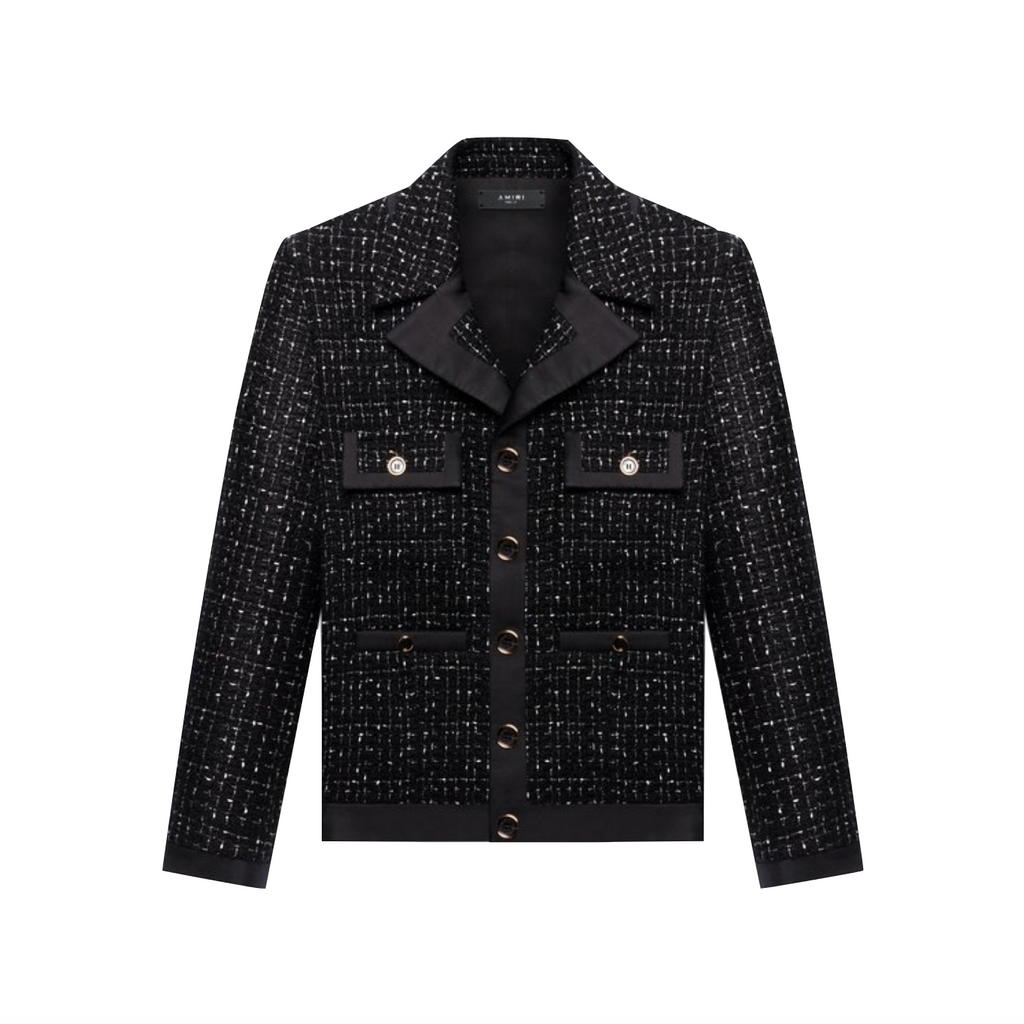 AMIRI BOUCLE CROPPED JACKET - BLACK