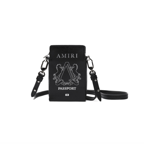 AMIRI PASSPORT HOLDER BAG - BLACK/SILVER
