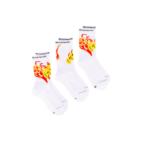 READYMADE 3PACK CREW SOCKS - WHITE/FIRE