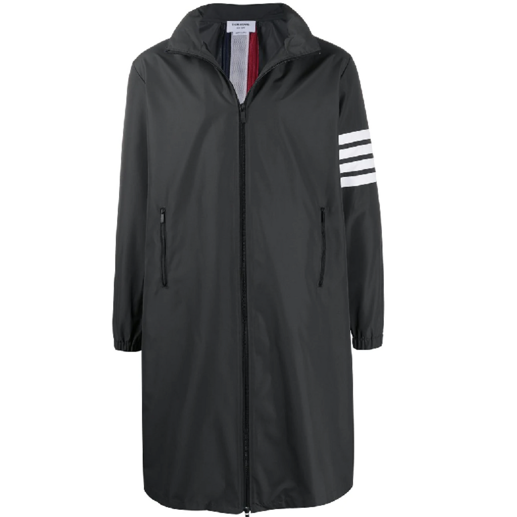 THOM BROWNE HIDDEN HOODIE ZIP UP PARKA IN FLYWEIGHT TECH - CHARCOAL