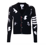 THOM BROWNE  - NAVYMULTI ANIMAL HALF DROP INTARSIA CLASSIC V-NECK CARDIGAN