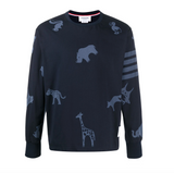 THOM BROWNE OVERSIZED LONG SLEEVE TEE W/ ALL OVER TONAL ICON PRINT - NAVY