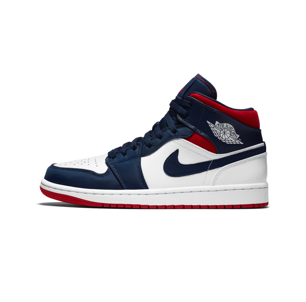 AIR JORDAN 1 MID SE -  WHITE/UNIVERSITY RED-MIDNIGHT NAVY