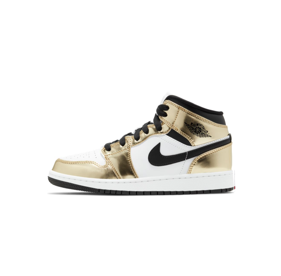 AIR JORDAN 1 MID SE GS - METALLIC GOLD/BLACK-WHITE-BLACK
