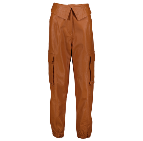 WOMEN'S AIR JORDAN LEATHER UTILITY COURT-TO-RUNWAY PANT - RUSSET/METALLIC GOLD