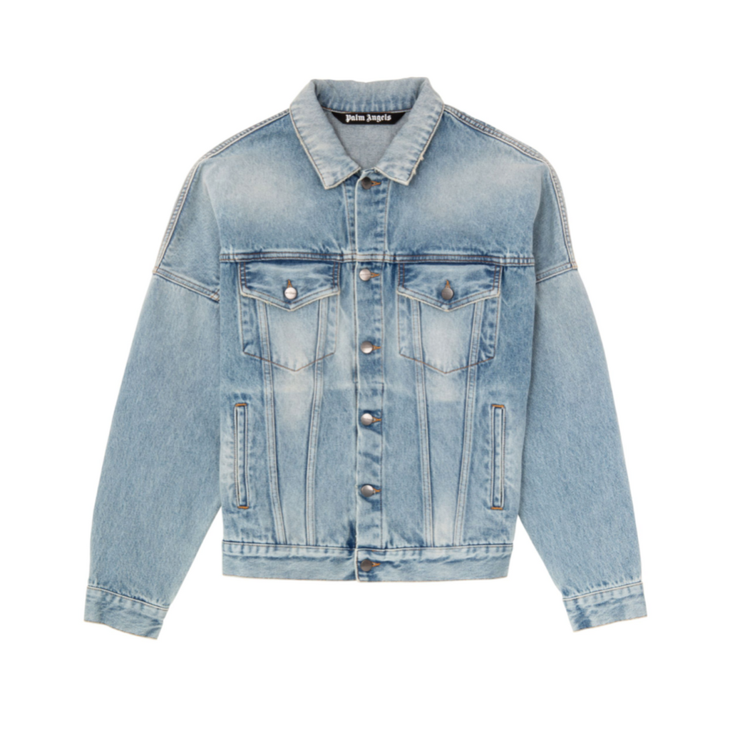 PALM ANGELS LOGO OVER DENIM JACKET -  LIGHT BLUE/ WHITE