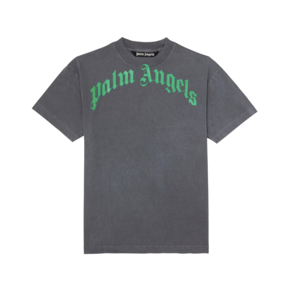 PALM ANGELS VINTAGE WASH CURVED LOGO TEE -  BLACK/ GREEN