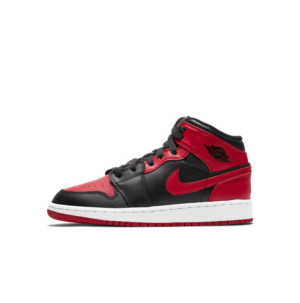AIR JORDAN 1 MID GS - BLACK/GYM RED-WHITE