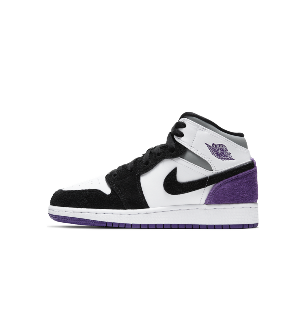 AIR JORDAN 1 MID SE GS - WHITE/COURT PURPLE-BLACK