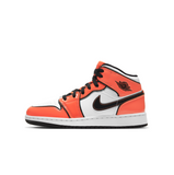 AIR JORDAN 1 MID SE GS - TURF ORANGE/BLACK-WHITE