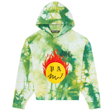 PALM ANGELS TIE DYE BURNING HEAD HOODY - FOREST GREEN /YELLOW