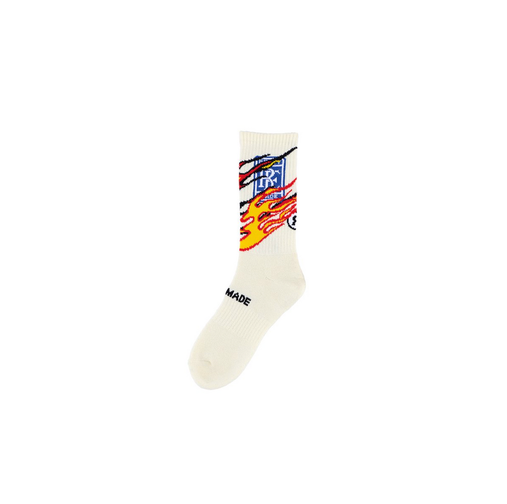 READYMADE 3PACK CREW SOCKS w/ FIRE - WHITE